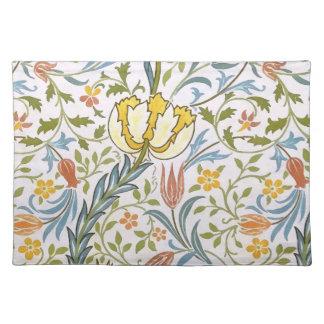 ウィリアム・モリスの植物相のヴィンテージの花柄アールヌーボー ランチョンマット