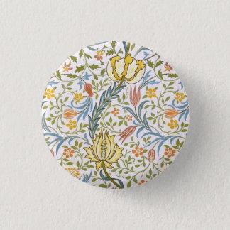 ウィリアム・モリスの植物相のヴィンテージの花柄アールヌーボー 3.2CM 丸型バッジ