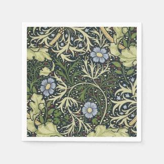 ウィリアム・モリスの海藻パターン花のヴィンテージの芸術 スタンダードカクテルナプキン