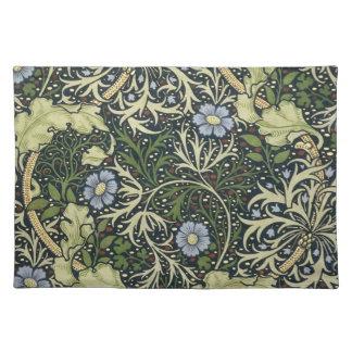 ウィリアム・モリスの海藻パターン花のヴィンテージの芸術 ランチョンマット