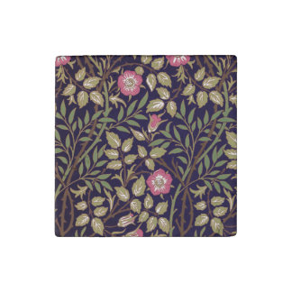 ウィリアム・モリスの甘いイバラの花柄アールヌーボー ストーンマグネット
