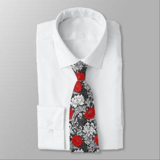 ウィリアム・モリスの菊、灰色および赤 ネクタイ