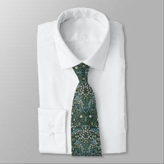 ウィリアム・モリスの青く白い及び緑の花柄 カスタムネクタイ