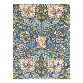 ウィリアム・モリスの青の花柄 ポストカード