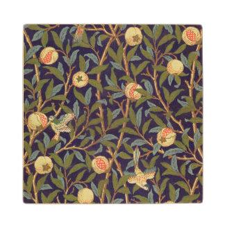 ウィリアム・モリスの鳥およびザクロのヴィンテージの花柄 ウッドコースター