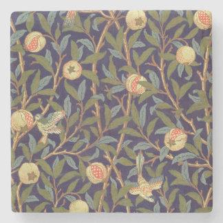 ウィリアム・モリスの鳥およびザクロのヴィンテージの花柄 ストーンコースター