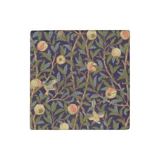 ウィリアム・モリスの鳥およびザクロのヴィンテージの花柄 ストーンマグネット