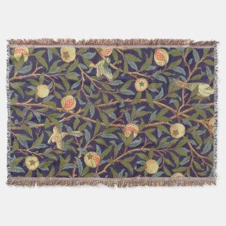 ウィリアム・モリスの鳥およびザクロのヴィンテージの花柄 スローブランケット