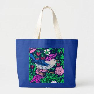 ウィリアム・モリスの鳥及び花のタイル、海軍及び明るい赤紫色 ラージトートバッグ