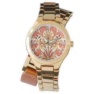 ウィリアム・モリスのHyacinthのプリント、オレンジおよび錆 腕時計