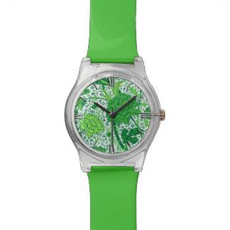 ウィリアム・モリスのJacobean花柄、エメラルドグリーン 腕時計