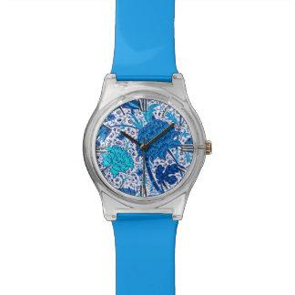 ウィリアム・モリスのJacobean花柄、コバルトブルー 腕時計