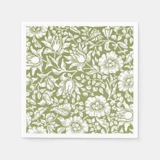 ウィリアム・モリスのMallowの緑パターン スタンダードカクテルナプキン