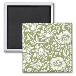 ウィリアム・モリスのMallowの緑パターン マグネット