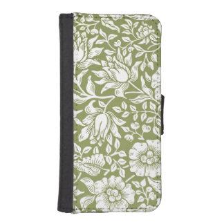 ウィリアム・モリスのMallowの緑パターン iPhoneSE/5/5sウォレットケース