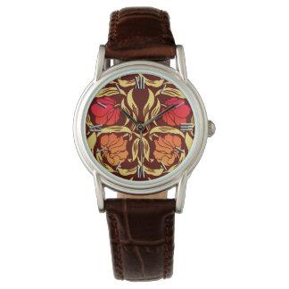 ウィリアム・モリスのPimpernelは、オレンジおよびブラウン錆つきます 腕時計