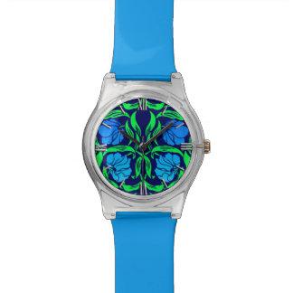 ウィリアム・モリスのPimpernel、コバルトブルーおよび緑 腕時計