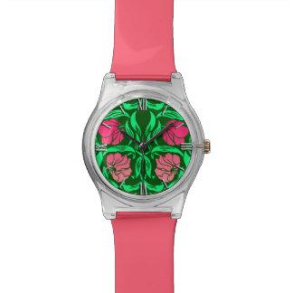 ウィリアム・モリスのPimpernel、珊瑚のピンクおよび緑 腕時計