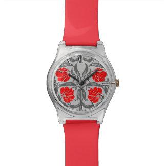 ウィリアム・モリスのPimpernel、銀製灰色および赤 腕時計