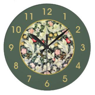 ウィリアム・モリスレスターのヴィンテージの花柄 ラージ壁時計