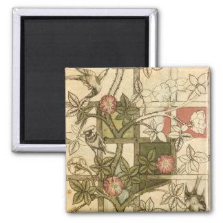 ウィリアム・モリス著格子垣のデザインの磁石 マグネット