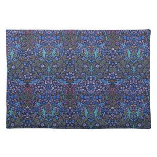 ウィリアム・モリス青くパターン(の模様が)あるなアールヌーボーのランチョンマット ランチョンマット