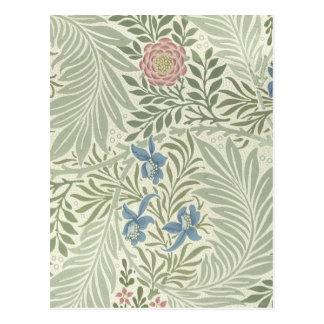ウィリアム・モリスLarkspurの花柄パターン ポストカード