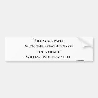 ウィリアム・ワーズワースの引用文のバンパーステッカー バンパーステッカー