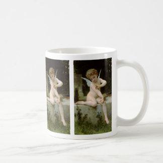 ウィリアムBouguereau著蝶を持つキューピッド コーヒーマグカップ