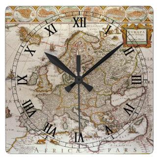 ウィレムJansz Blaeu、c1617著ヨーロッパの旧式な地図 スクエア壁時計