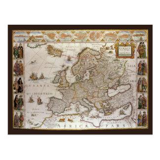 ウィレムJansz Blaeu、c1617著ヨーロッパの旧式な地図 ポストカード