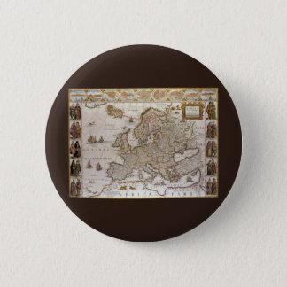 ウィレムJansz Blaeu、c1617著ヨーロッパの旧式な地図 5.7cm 丸型バッジ