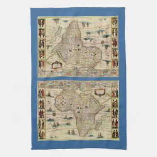 ウィレムJanszoon Blaeu著ヴィンテージの1660年代のアフリカの地図 キッチンタオル