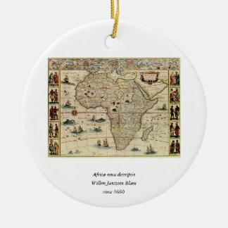 ウィレムJanszoon Blaeu著ヴィンテージの1660年代のアフリカの地図 セラミックオーナメント