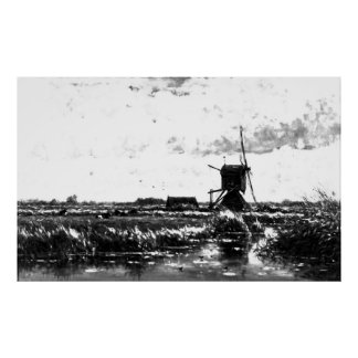 ウィレムRoelofs -風車との景色(変更される ポスター