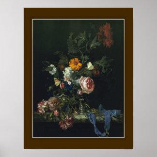 ウィレムvan Aelst、「花および腕時計「 ポスター