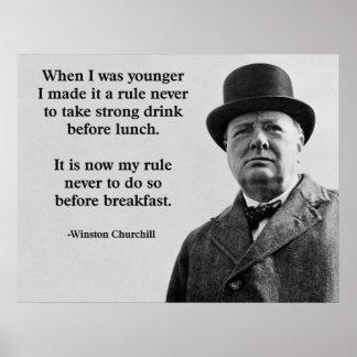 ウィンストン・チャーチルの飲むこと ポスター