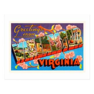 ウィンチェスターヴァージニアVAの古いヴィンテージ旅行郵便はがき ポストカード