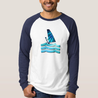 ウィンドサーフィンをするデザインの長袖のワイシャツ Tシャツ
