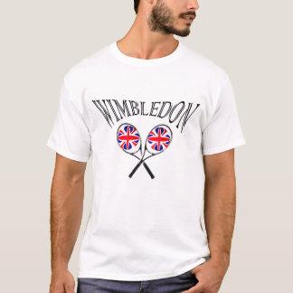 ウィンブルドンのテニスラケットおよび球のイギリスの旗のTシャツ Tシャツ