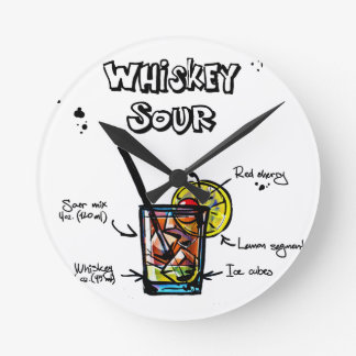 ウイスキーサワーのカクテルのレシピ ラウンド壁時計