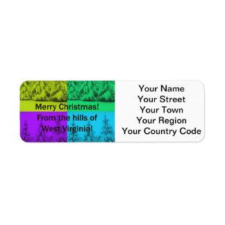 ウェストヴァージニアのメリークリスマスの木のコラージュ ラベル