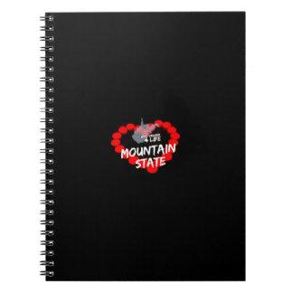 ウェストヴァージニアの国家のための蝋燭のハートのデザイン ノートブック