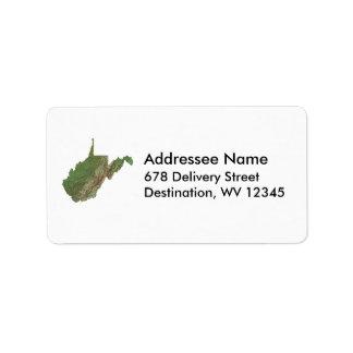 ウェストヴァージニアの地図の宛名ラベル ラベル