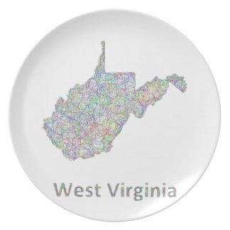 ウェストヴァージニアの地図 プレート
