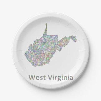 ウェストヴァージニアの地図 ペーパープレート