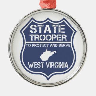 ウェストヴァージニアの州警察官は保護し、役立ちます メタルオーナメント