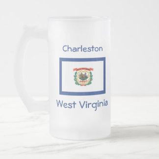 ウェストヴァージニアの旗の地図都市マグ フロストグラスビールジョッキ