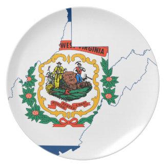 ウェストヴァージニアの旗の地図 プレート