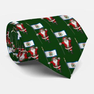 ウェストヴァージニアの旗を持つ陽気なサンタクロース ネクタイ